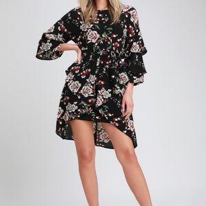 Black Floral Print Tiered Flounce Sleeve Dress